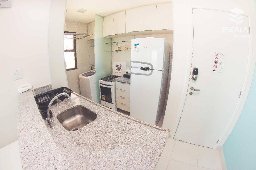apartamento para locação no cumbuco, 1 suíte, 100% mobiliado, vista mar, lazer, com internet / tv a cabo - ap1084