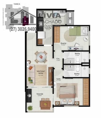 apartamento para venda, 2 dormitórios, jardim da penha - vitória - 1897