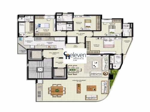 apartamento para venda barra, salvador ( morro ipiranga ) 4 suítes, 2 salas, 6 banheiros, 3 vagas 171,00 útil - tot7176 - 4930781