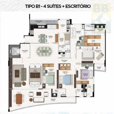 apartamento para venda em natal, tirol, 4 dormitórios, 4 suítes, 6 banheiros, 3 vagas - manhattan res 4 st