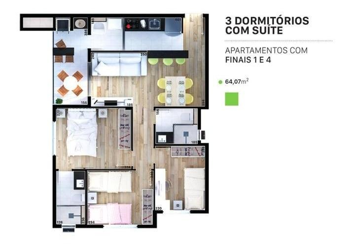 apartamento para venda em ponta grossa, oficinas, 2 dormitórios - vittaceof_1-858941