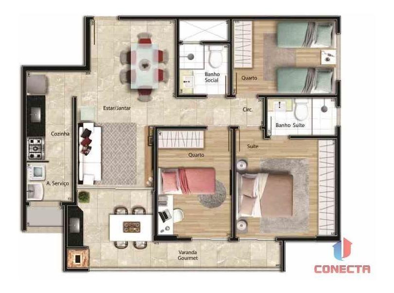 apartamento para venda em vitória, jardim da penha, 3 dormitórios, 1 suíte, 2 banheiros, 2 vagas - 15600