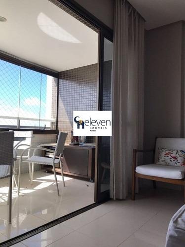 apartamento para venda na pituba, salvador, 3 dormitórios, 1 sala, 1 banheiro, 4 vagas,130 m², valor: r$ 800.000,00 - vista mar! - ap00155 - 32053557