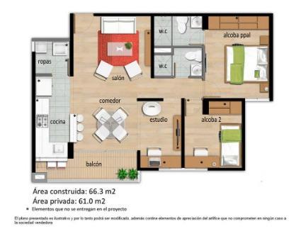 apartamento piso 10, unidad residencial amonte