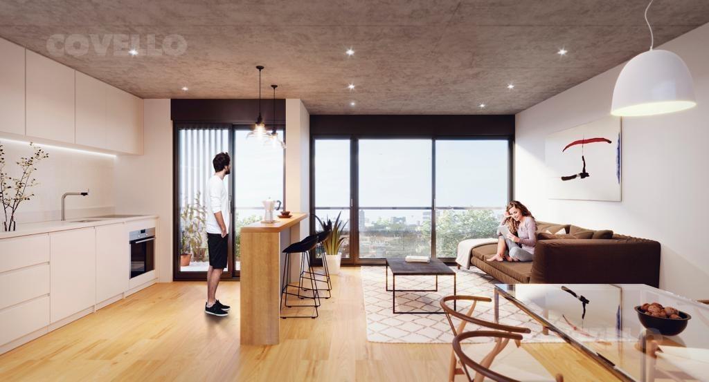 apartamento  puerto buceo, monoambiente divisible al frente. terraza  propia. ideal renta.