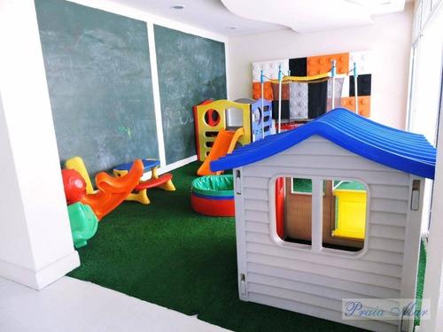 apartamento reformado frente ao mar residencial à venda, astúrias, guarujá - ap0275. - ap0275