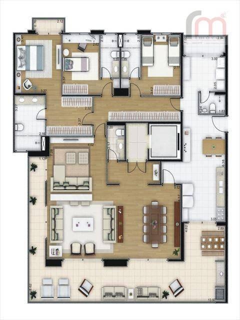 apartamento residencial à venda, boqueirão, santos - ap0834. - ap0834
