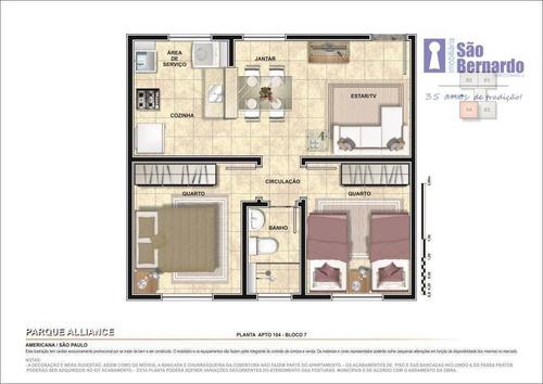 apartamento residencial à venda, jardim terramérica i, americana. - ap0662