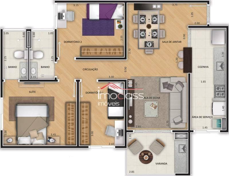 apartamento residencial à venda, vila brasil, santa bárbara d'oeste. - ap0504