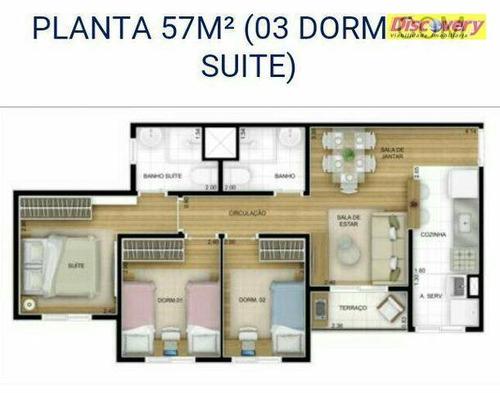 apartamento  residencial à venda, vila rio de janeiro, guarulhos. - ap0274