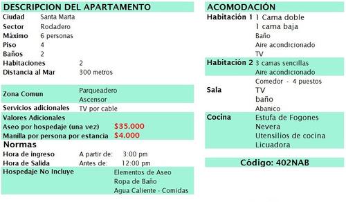 apartamento rodadero 2 hab 6 per $190.000 402nab