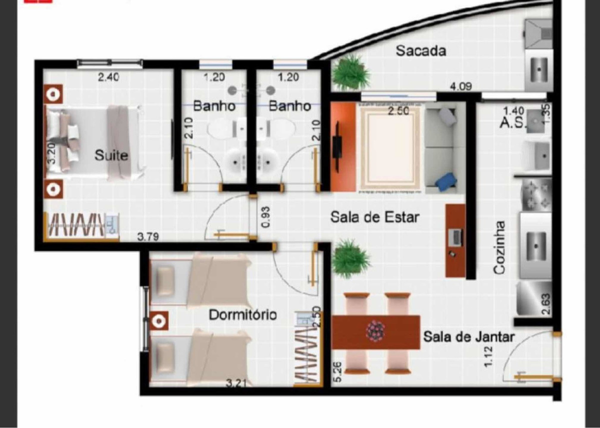apartamento salas: 2 dormitórios: 2 banheiros: 2 garagem: 1