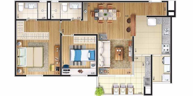 apartamento  são bernado do campo - 02 dorms. - 01 suite