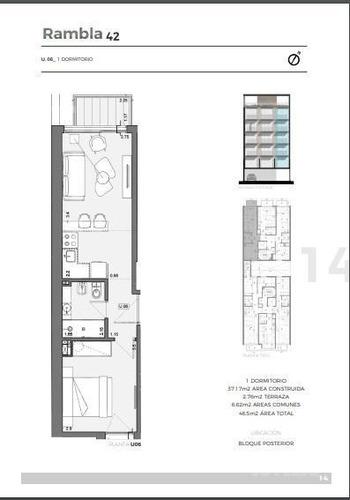apartamento sobre rambla , 1 dormitorio. hermosa vista
