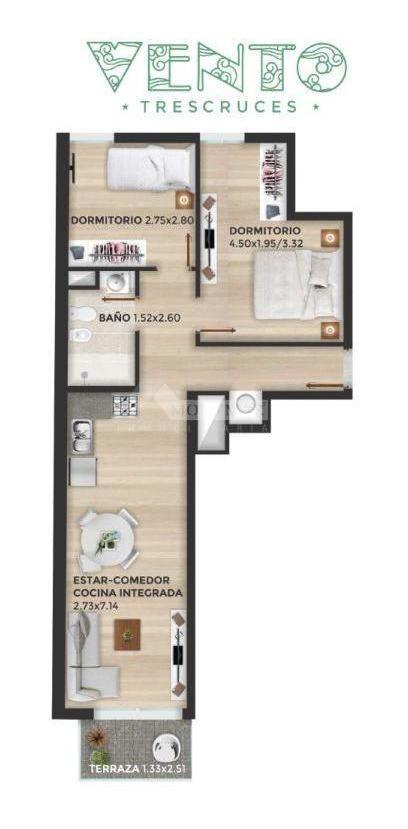 apartamento tres cruces venta 2 dormitorios bulevar artigas y nueva palmira, ed. vento tres cruces