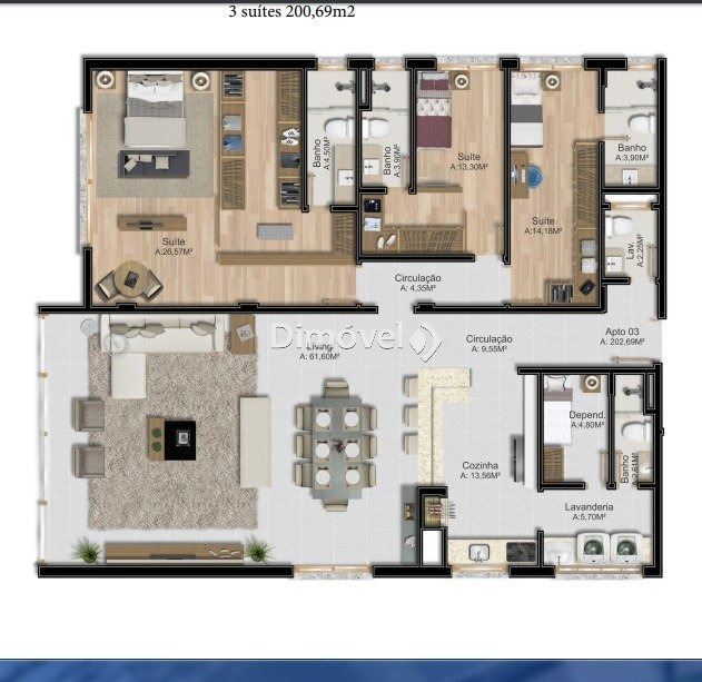 apartamento - tristeza - ref: 13095 - v-13095
