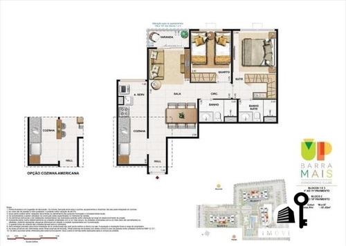 apartamento up barra dois quartos no anil - 105