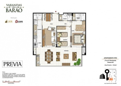 apartamento varandas do barão - 2 quartos - botafogo - 77