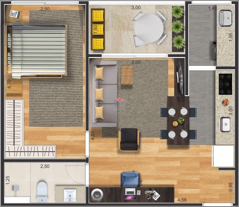 apartamento à venda - 1 quarto - 1 vaga - nova gerty - são bernardo do campo - sp - 43872