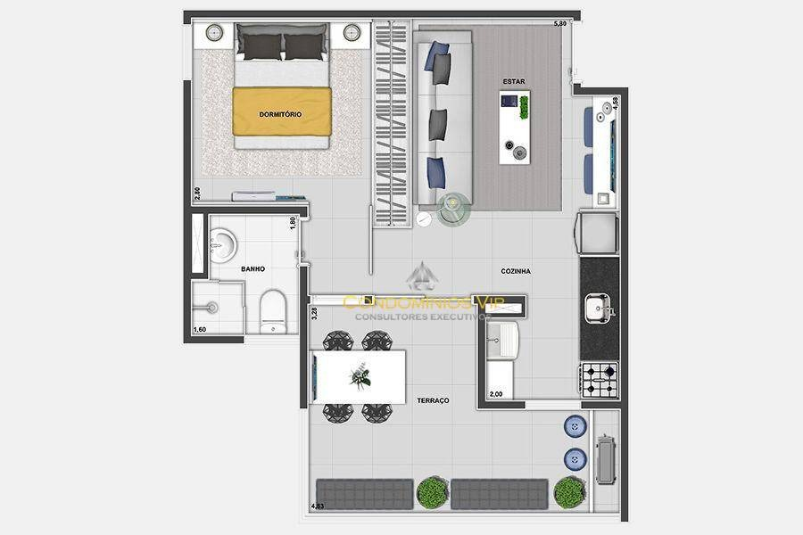 apartamento à venda, 50 m² por r$ 353.200,00 - parque campolim - sorocaba/sp - ap0338