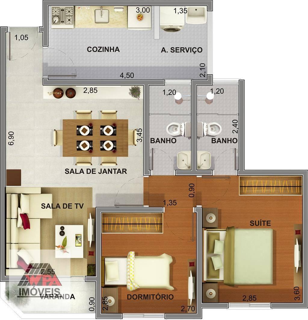 apartamento à venda, 65 m² por r$ 263.000,00 - centro - sumaré/sp - ap0519