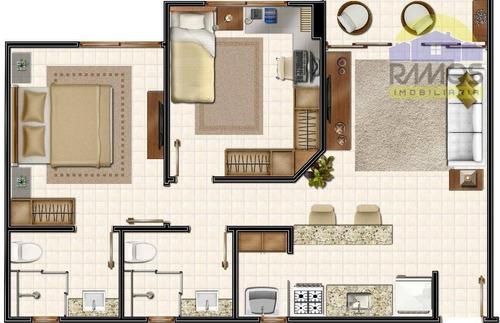 apartamento à venda, candelária, 2 dormitórios natal. - ap0070