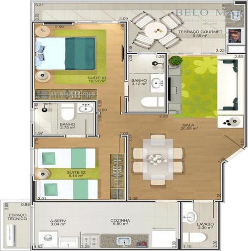 apartamento à venda, canto do forte, praia grande. - codigo: ap0354 - ap0354
