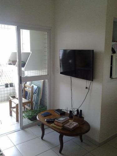 apartamento  à venda, na aparecida, santos, com varanda. - ap1017