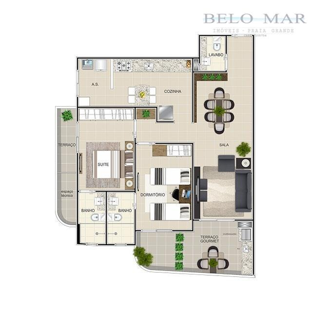 apartamento à venda, vila guilhermina, praia grande. - codigo: ap0360 - ap0360
