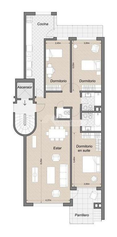 apartamento venta 3 dormitorios haras del lago, tza c/parr, gje/1