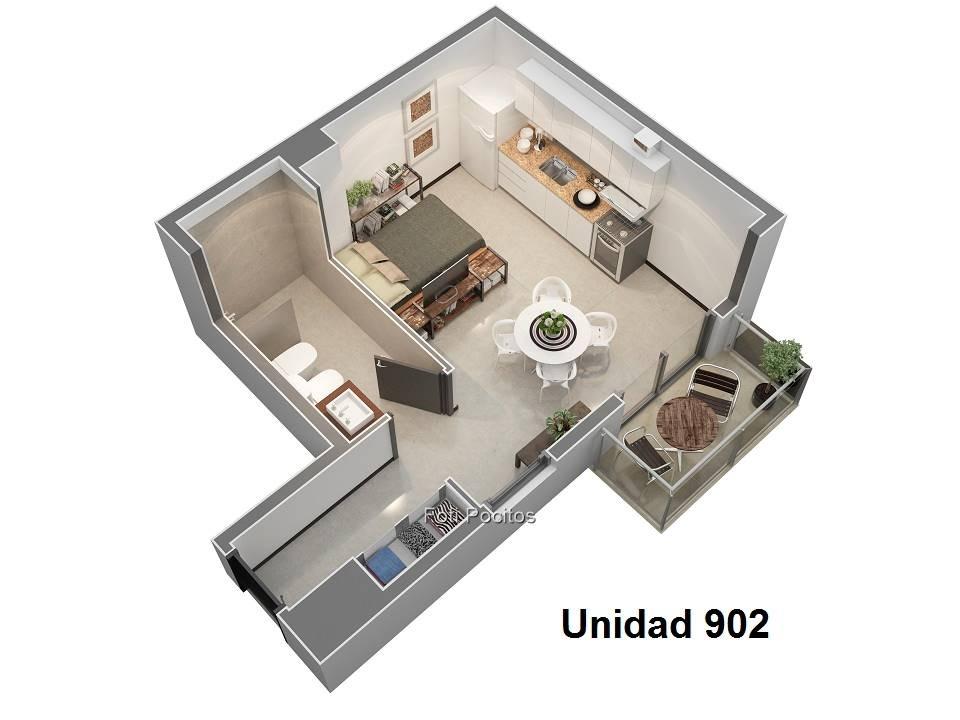 apartamentos de 1 ambiente, todos con terraza,