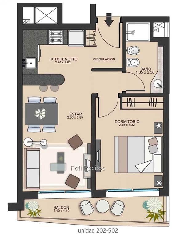 apartamentos de 1 dormitorio, al frente