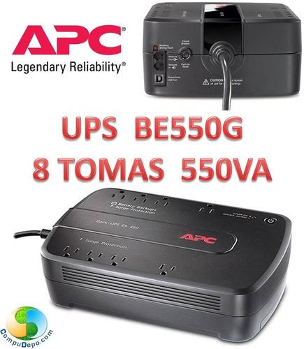apc back-ups 550va, 8 tomas, 120v be550g usb