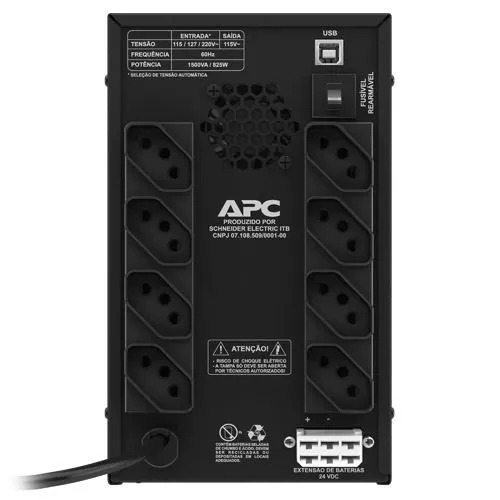 apc nobreak back-ups 1500va 825w (entrada bivolt/saida 115v)