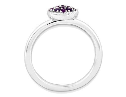 apilable amatista anillo 1/5 quilates (ctw) en plata de ley