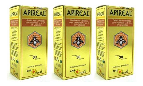 apis flora apireal geleia real liofilizada c/30 (kit c/03)