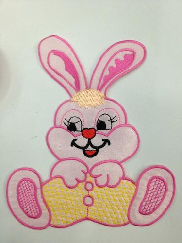 aplicacion bordada #conejo 16x14 unidad  # x1553 rosado