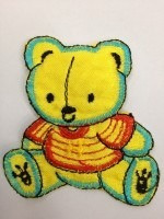 aplicacion bordada #oso 6cm x 6cm x unidad #2147 amarillo