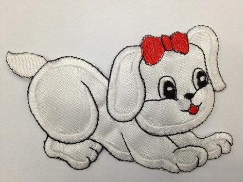 aplicacion bordada #perro 7 x 9 cm  x unidad # xe-002 blanco