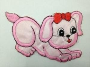 aplicacion bordada #perro 7 x 9 cm  x unidad # xe-002 rosado