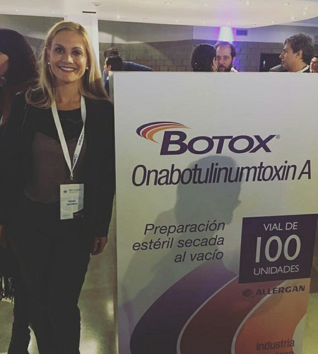 aplicación de toxina botulinica(botox). 50 u.  3 áreas.