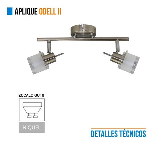 aplique 2 luces odell movil vidrio acero apto led gu10 baño