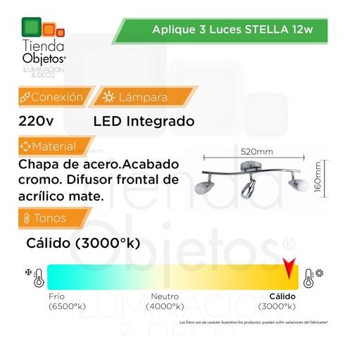 aplique 3 luces lineal movil deco platil stella led 12w