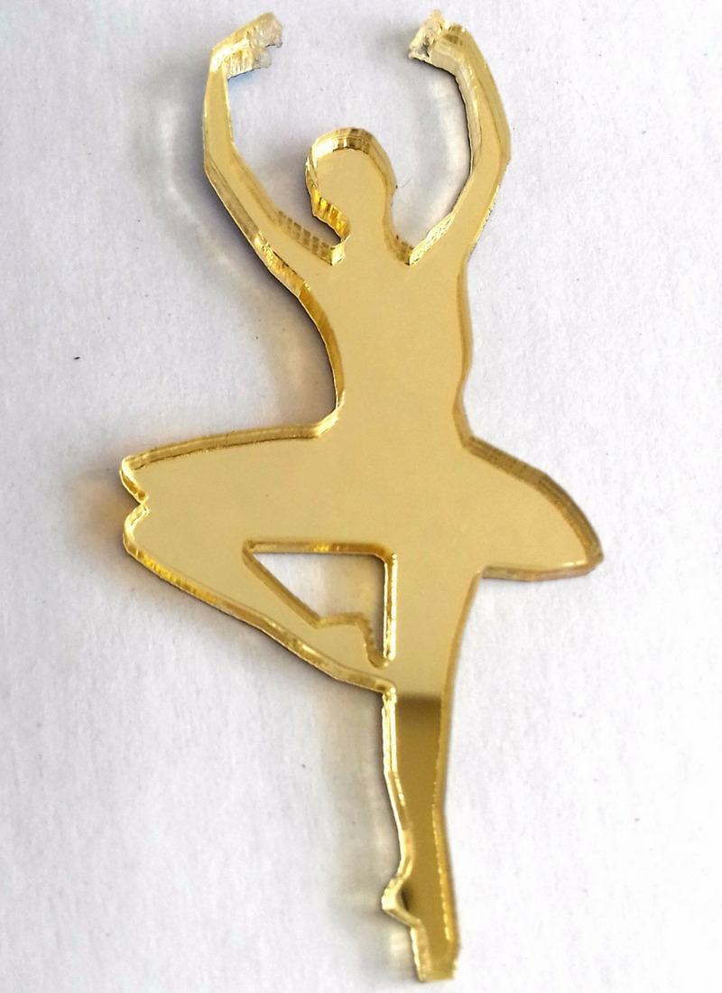 98dc9a2bf2 Aplique Acrílico Espelhado Dourado 10 Peças Bailarina - R  23