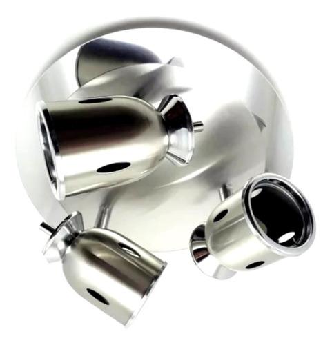 aplique apto ventilador o techo con 3 spots moviles fina tulipa y bipin led completo consume 18w e ilumina 200w