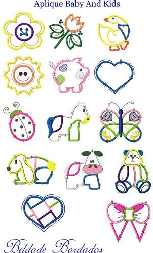 aplique baby and kids - coleção de matriz de bordado