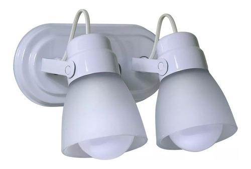 aplique baño spot 2 luces oval blanco apto techo pared e27