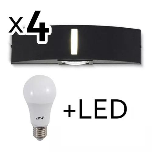 aplique bidireccional exterior con led 9w pack de 4