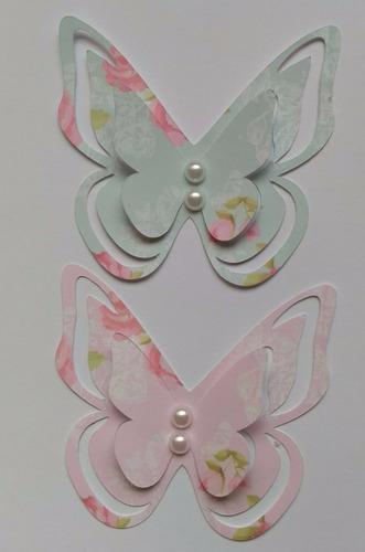 aplique borboleta 3d ,15 cm c/ pérola, papel estampado 10 un