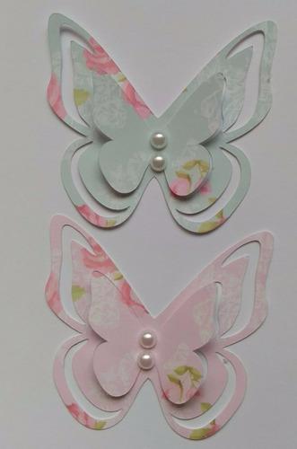 aplique borboleta 3d de 15 cm com pérola, papel estampado